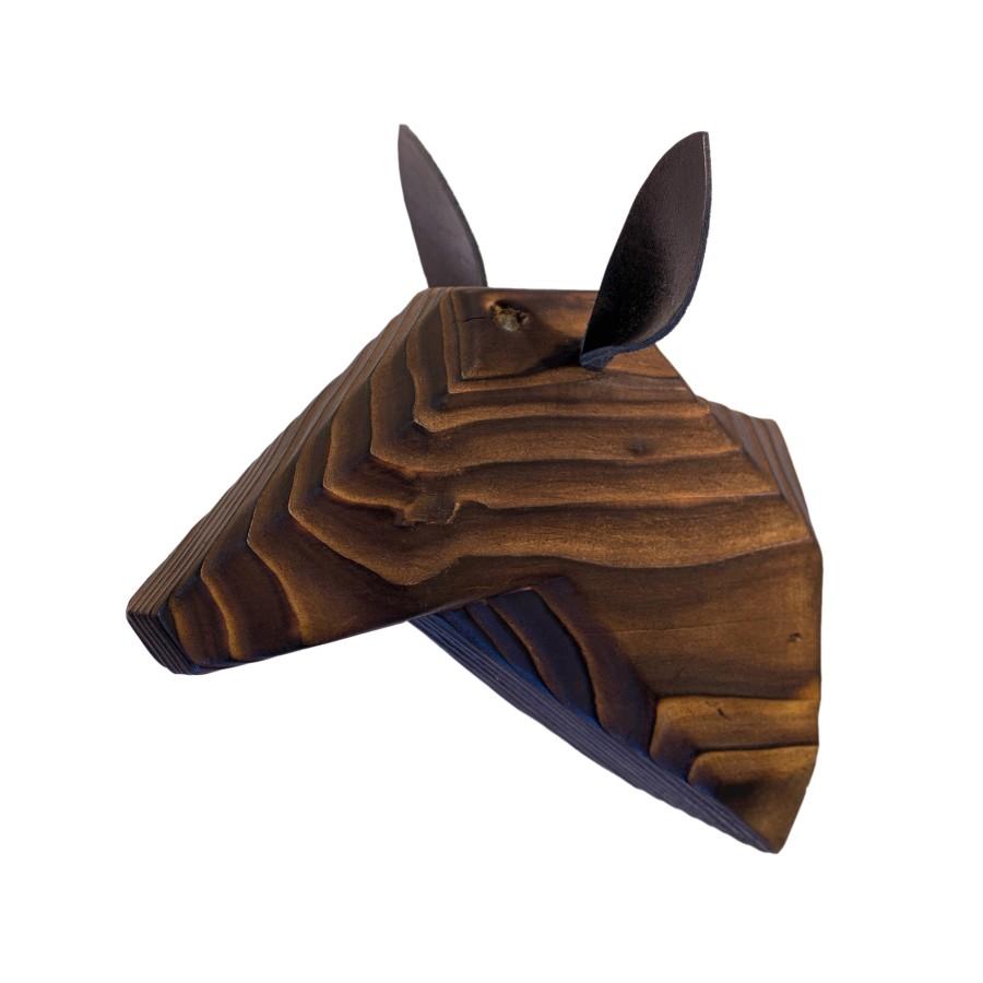 Wooden Deer Head - Ancient - Black Ears