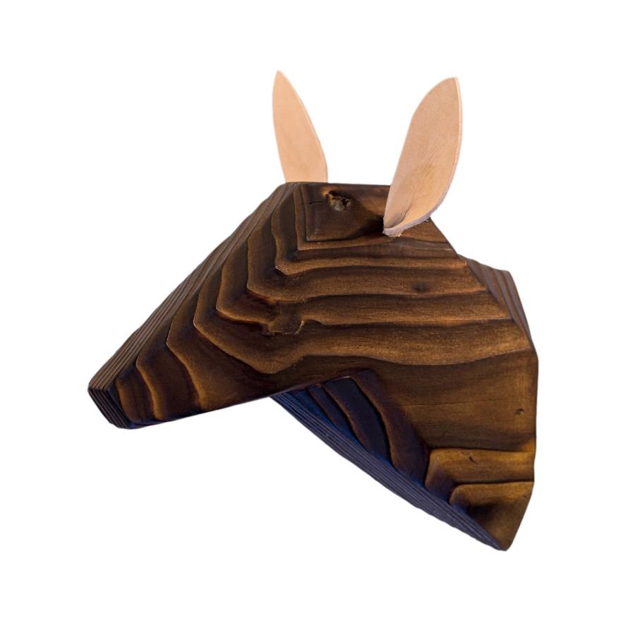 Wooden Deer Head - Ancient - White Ears