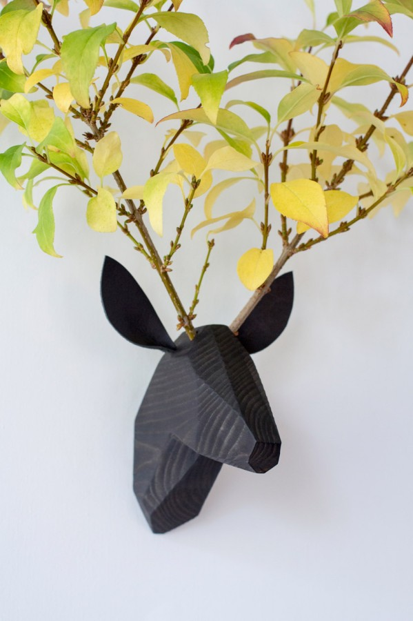 Wooden Deer Head - Black Washed -Black Ears