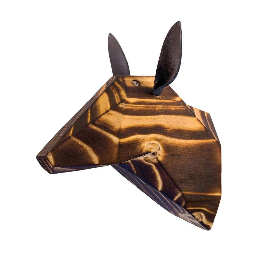 Wooden Deer Head - Burned - Black Ears