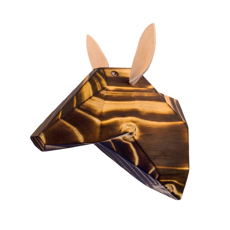 Wooden Deer Head - Burned - White Ears