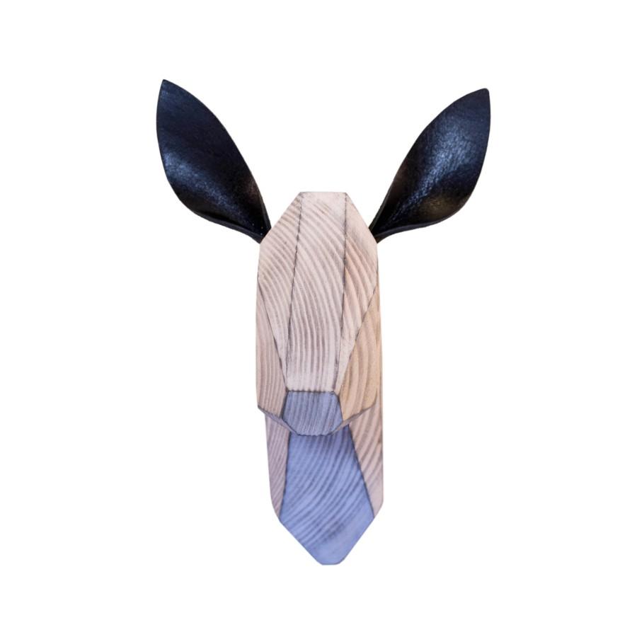 Wooden Deer Head - White Washed - Black Ears