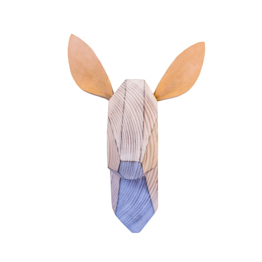 Wooden Deer Head - White Washed - White Ears