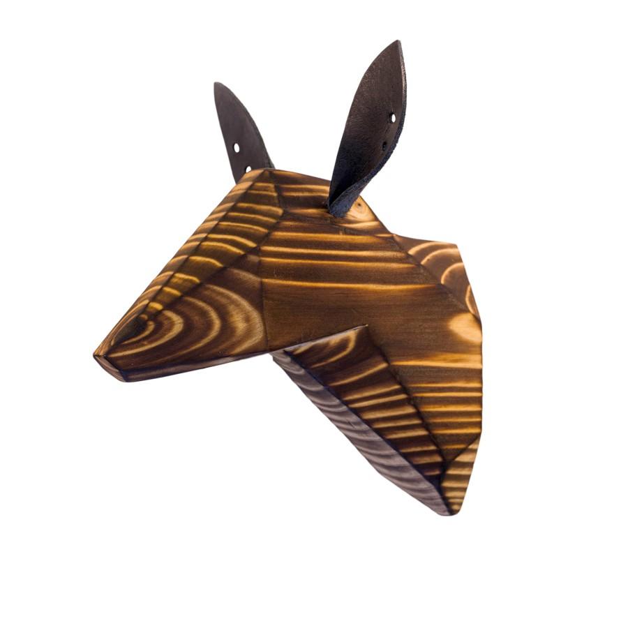Wooden Doe Head - Burned - Black Ears