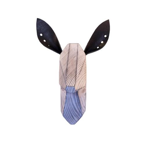 Wooden Doe Head - White Washed - Black Ears