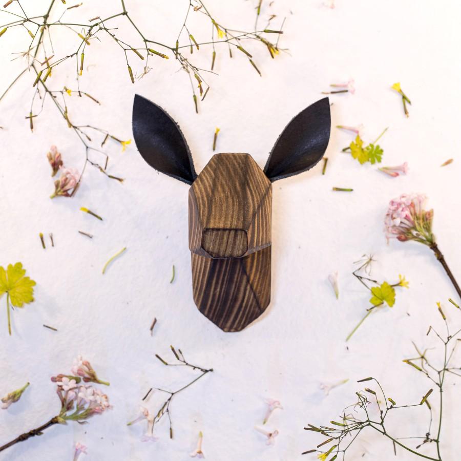Wooden Fawn Head - Burned - Black Ears