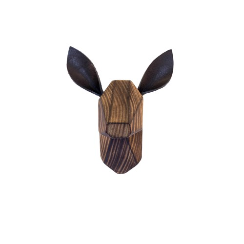 Wooden Fawn Head - Burned - Black Ears
