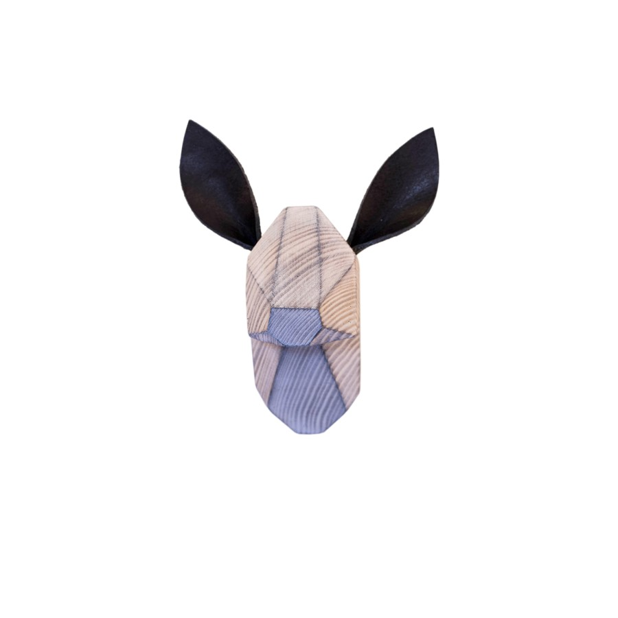 Wooden Fawn Head - White Washed - Black Ears