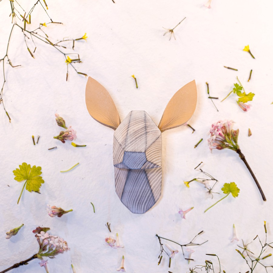 Wooden Fawn Head - White Washed - White Ears